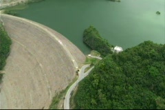 Helicopter Aerial View of Dirt Dam 3 Stock Footage