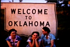 Welcome to Oklahoma 1950's 3 women sitting  - stock footage