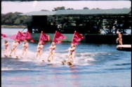 Water Skiing Show with Flags 1950's  Stock Footage