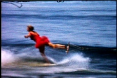 Water Skiing Show 1950's Woman Elegant Man Crashes - stock footage