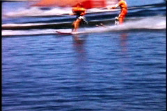 Water Skiing Show Comedy 1950's  - stock footage