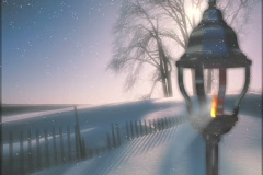 4930 Snow night flick of gas lantern background Stock Footage