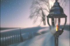 4930 Snow night flick of gas lantern background - stock footage