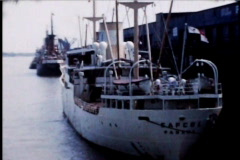 Ship Boat in Dock during the 1950's - stock footage