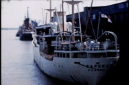 Ship Boat in Dock during the 1950's Stock Footage