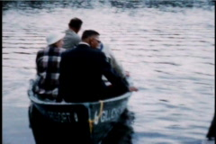 Wisconsin Lake 4 people get in boat and leave camera behind - stock footage