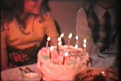 Girl Celebrates 11th Birthday (1976 Vintage 8mm film) Stock Footage
