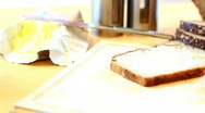 Stock Video Footage of Slices whole grain bread, ham and vegetables, dolly shot