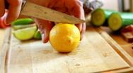 Slicing lemon Stock Footage
