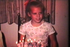 Little Girl Turns Ten (1975 - Vintage 8mm film) Stock Footage