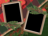 4912 green red plad poinsettia picture video photo frames Stock Footage
