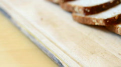 Slices whole grain bread, dolly shot Stock Footage