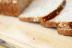 Slices whole grain bread, ham and vegetables, dolly shot Stock Footage