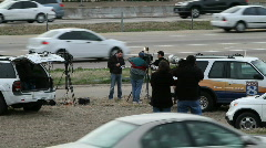 News Reporters on Highway Stock Footage