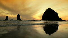 Haystack Rock at Sunset in Cannon Beach Along the Oregon Coast - stock footage
