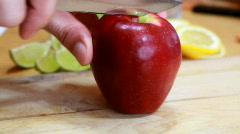 Slicing apple Stock Footage