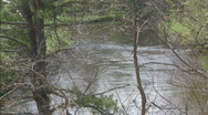 Stock Video Footage of Looking down on river, water flowing away from viewer, trees in foreground