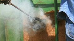 Cattle branding smoke fire P HD 0634 Stock Footage
