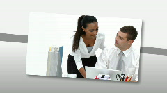Montage presenting assertive business team at work - stock footage