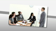 Montage of Assertive business people doing a presentation Stock Footage