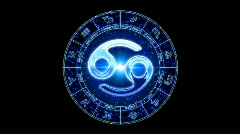 Blue cancer zodiacal symbol Stock Footage