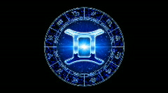 Blue gemini zodiacal symbol Stock Footage
