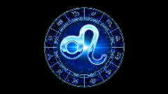 blue leo zodiacal symbol - stock footage