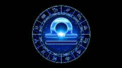 Blue libra zodiacal symbol Stock Footage