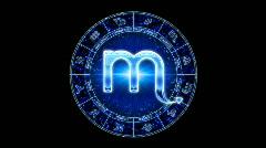 Blue scorpio zodiacal symbol Stock Footage