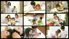 Montage of happy families playing at home - stock footage