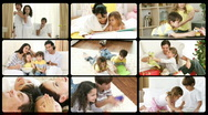 Montage of happy families playing at home Stock Footage