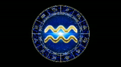 golden aquarius zodiacal symbol - stock footage