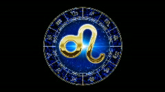 golden leo zodiacal symbol - stock footage