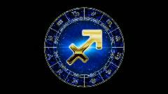 Golden sagittarius zodiacal symbol Stock Footage
