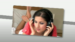 Montage on young woman listening music at home Stock Footage