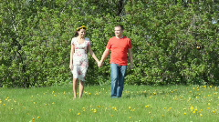 Couple walking on the field Stock Footage