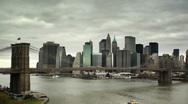 Brooklyn Bridge and downtown NYC Stock Footage
