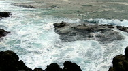 Stock Video Footage of Blue Ocean Waves Over Offshore Rocks