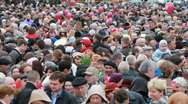 Crowd of people laying flowers Stock Footage