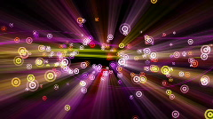 Loopable background flying circle pulsating particles with shine beams Stock Footage