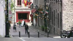 Historic Side Street In Old Port Montreal Vieux Port, Quebec Canada Stock Footage