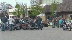 Motorcycle gathering in street 2 Stock Footage