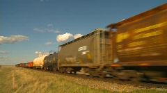 railroad, freight train pan - stock footage
