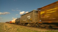 Stock Video Footage of railroad, freight train pan