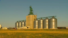 Agriculture, inland grain terminal, wide shot, late afternoon Stock Footage