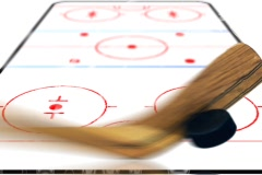 5924 Ice Hockey puck game stick album book Background Stock Footage