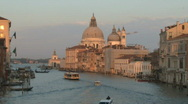 Stock Video Footage of Venice Italy Skyline at Dusk over Grand Canal in Europe
