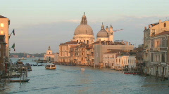Venice Italy Skyline at Dusk over Grand Canal in Europe - stock footage