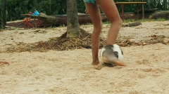 Children playing beach soccer 2 - stock footage