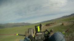 Flight ultralight over sheep GP 0179 Stock Footage